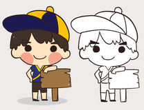 彩图的逗人喜爱的男孩穿戴帽子 线艺术动画片 传染媒介不适 皇族释放例证