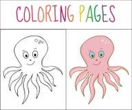 彩图页,章鱼 剪影和颜色版本 孩子的着色 也corel凹道例证向量 皇族释放例证