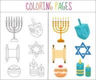 彩图页 光明节集合 剪影和颜色版本 对于孩子 也corel凹道例证向量