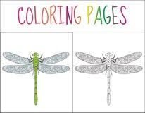 彩图页 蜻蜓 剪影和颜色版本 孩子的着色 也corel凹道例证向量 免版税库存图片