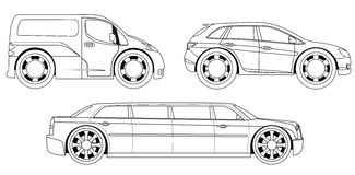 彩图:被设置的风格化汽车 库存例证
