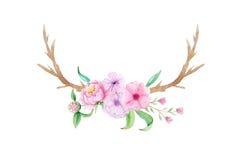 水彩土气套花和叶子 免版税库存图片