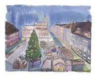 水彩圣诞夜镇 库存图片