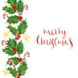 水彩圣诞快乐卡片用霍莉莓果和叶子,棒棒糖,金黄星 库存照片
