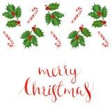 水彩圣诞节与霍莉分支和棒棒糖,假日书法词组的贺卡 库存照片