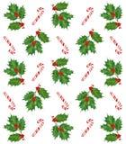 水彩圣诞节印刷品 手拉的元素 霍莉莓果和叶子,棒棒糖 免版税库存照片