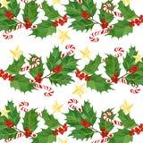 水彩圣诞节手拉的印刷品 霍莉莓果和叶子,棒棒糖,金黄星 免版税图库摄影