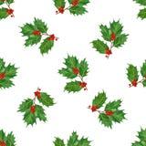 水彩圣诞节无缝的样式用霍莉莓果和叶子 晒干印刷品的,纺织品,包装纸设计 库存照片