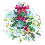 水彩圣诞节槲寄生和霍莉花束 免版税图库摄影