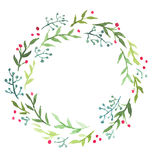 水彩圣诞节花卉花圈 免版税库存照片