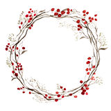 水彩圣诞节花卉花圈 免版税库存图片