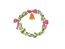 水彩圣诞节花圈响铃弓5 库存图片