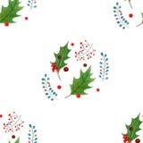 水彩圣诞节霍莉纺织品印刷品 在白色背景隔绝的假日设计 免版税图库摄影