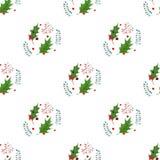 水彩圣诞节霍莉纺织品样式 在白色背景隔绝的假日设计 图库摄影