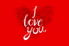 水彩在上写字我爱你在轻的背景的桃红色,红色和橙色颜色的情人节心脏 向量 免版税图库摄影