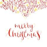 水彩在白色背景与棒棒糖和holyday书法词组的圣诞卡隔绝的,贺卡 库存照片
