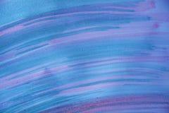 水彩在蓝色和桃红色,抽象背景中 免版税库存图片