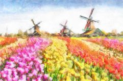 水彩在Zaanse Schans风景的运河与近郁金香传统荷兰风车和议院 库存图片