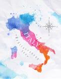 水彩地图意大利桃红色蓝色 免版税库存照片