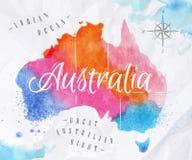 水彩地图澳大利亚桃红色蓝色 图库摄影