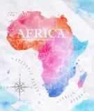 水彩地图非洲桃红色蓝色 免版税库存图片
