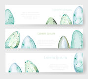 水彩复活节假日卡片,标记,被设置的横幅 向量 免版税库存照片