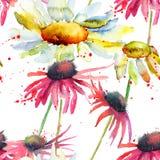 水彩夏天无缝的样式 免版税库存图片