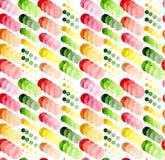 水彩大和小五颜六色的圈子重复样式 库存照片