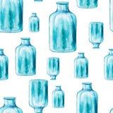 水彩大蓝色瓶的无缝的样式 免版税库存图片