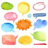 水彩套五颜六色的讲话泡影 免版税库存照片
