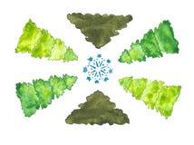 水彩套圣诞树 库存照片