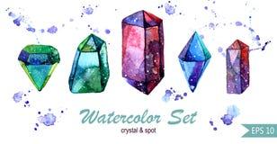 水彩套水晶和斑点 Isoleted小组 免版税库存图片