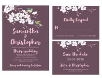 水彩婚礼邀请卡片 向量例证