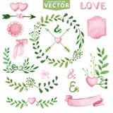 水彩婚礼集合 分支,月桂树花圈,桃红色装饰 免版税库存图片