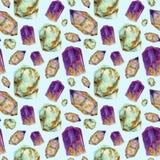 水彩宝石无缝的样式 玉绿松石、紫晶和rauchtopaz在蓝色隔绝的石头装饰品 库存照片