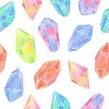 水彩宝石无缝的样式 免版税库存图片
