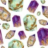 水彩宝石样式 玉绿松石、紫晶和在白色隔绝的rauchtopaz石头无缝的装饰品 免版税库存照片