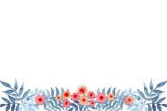 水彩小的花和蓝色叶子卡片 免版税库存图片