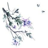 水彩开花树 库存图片
