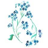 水彩开花蓝色 向量例证
