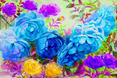 绘画水彩开花风景五颜六色玫瑰 免版税库存图片