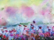 水彩开花绘画 在软的颜色和迷离样式的花 向量例证