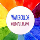 水彩彩虹传染媒介背景 您的设计的五颜六色的模板 彩虹背景的,框架, deco水彩元素 免版税库存图片