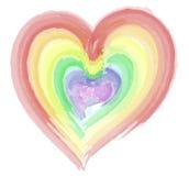 水彩彩虹心脏 库存照片