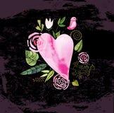 水彩心脏、花和丝带 皇族释放例证