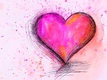 水彩心脏。情人节 免版税库存照片