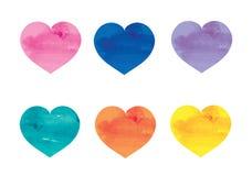 水彩心脏。 库存图片