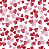 水彩心脏光栅无缝的样式 库存例证
