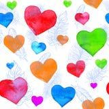 水彩心脏和羽毛 库存图片