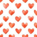水彩心脏无缝的样式 免版税库存图片